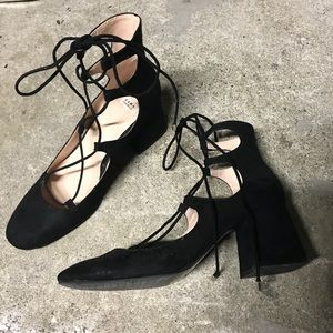 Zara Block Heel Lace Ups with Suede like material